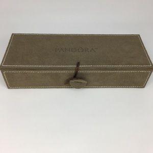 Pandora Tan Suede 3 Tray Charm Jewelry Box